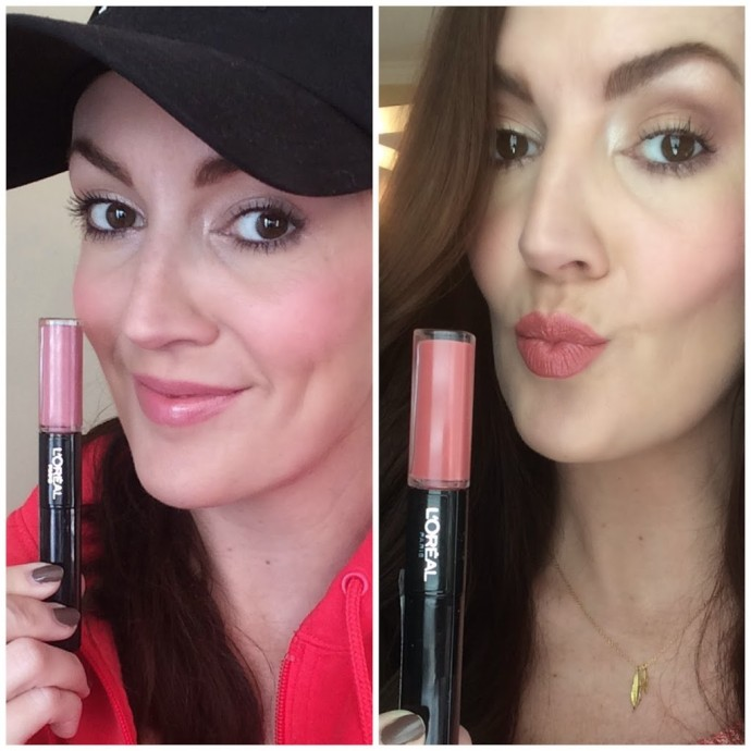 pink and nude shades of L'Oreal Infallible Pro Last Lip colors