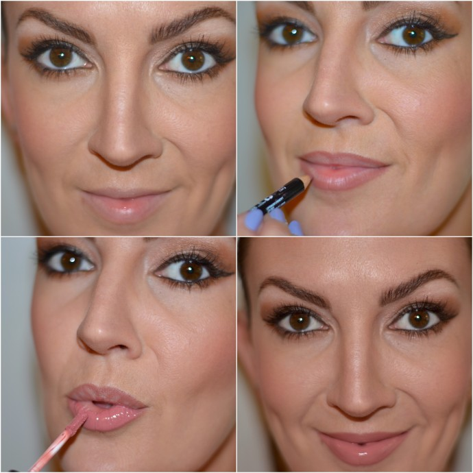 how to create a fuller lip using nude lip liner and gloss