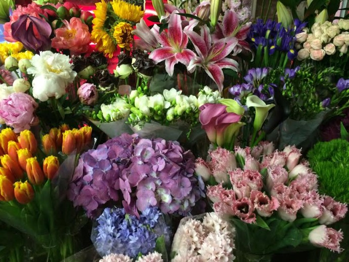 fresh flowers in Chelsea market NYC