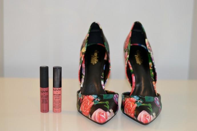 best budget flower printed  heels & lip glosses