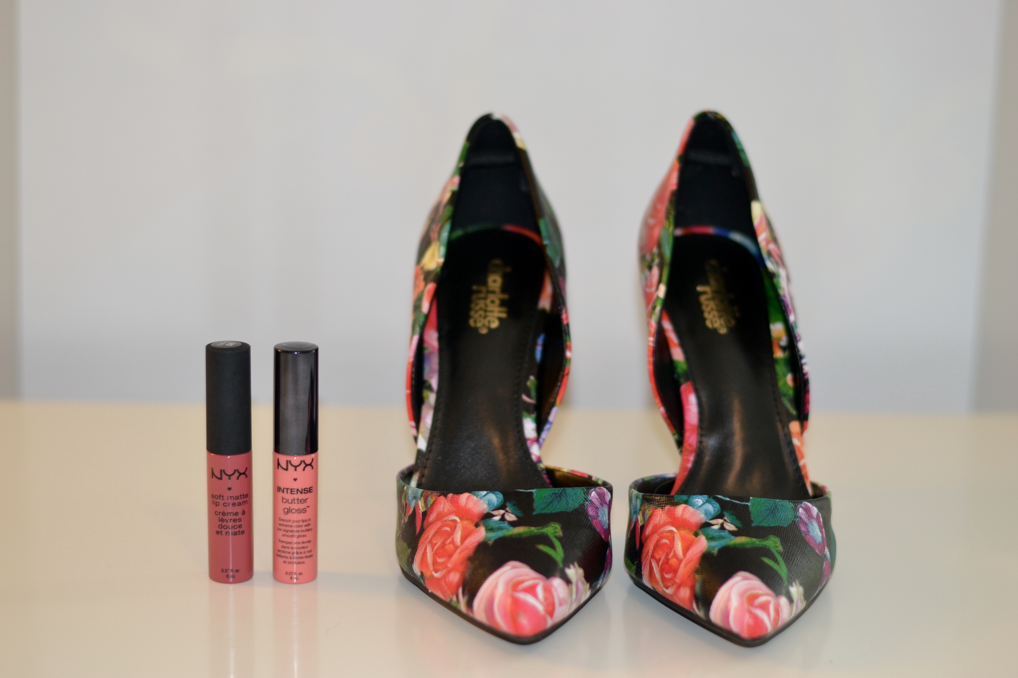 best budget flower printed heels & lip glosses