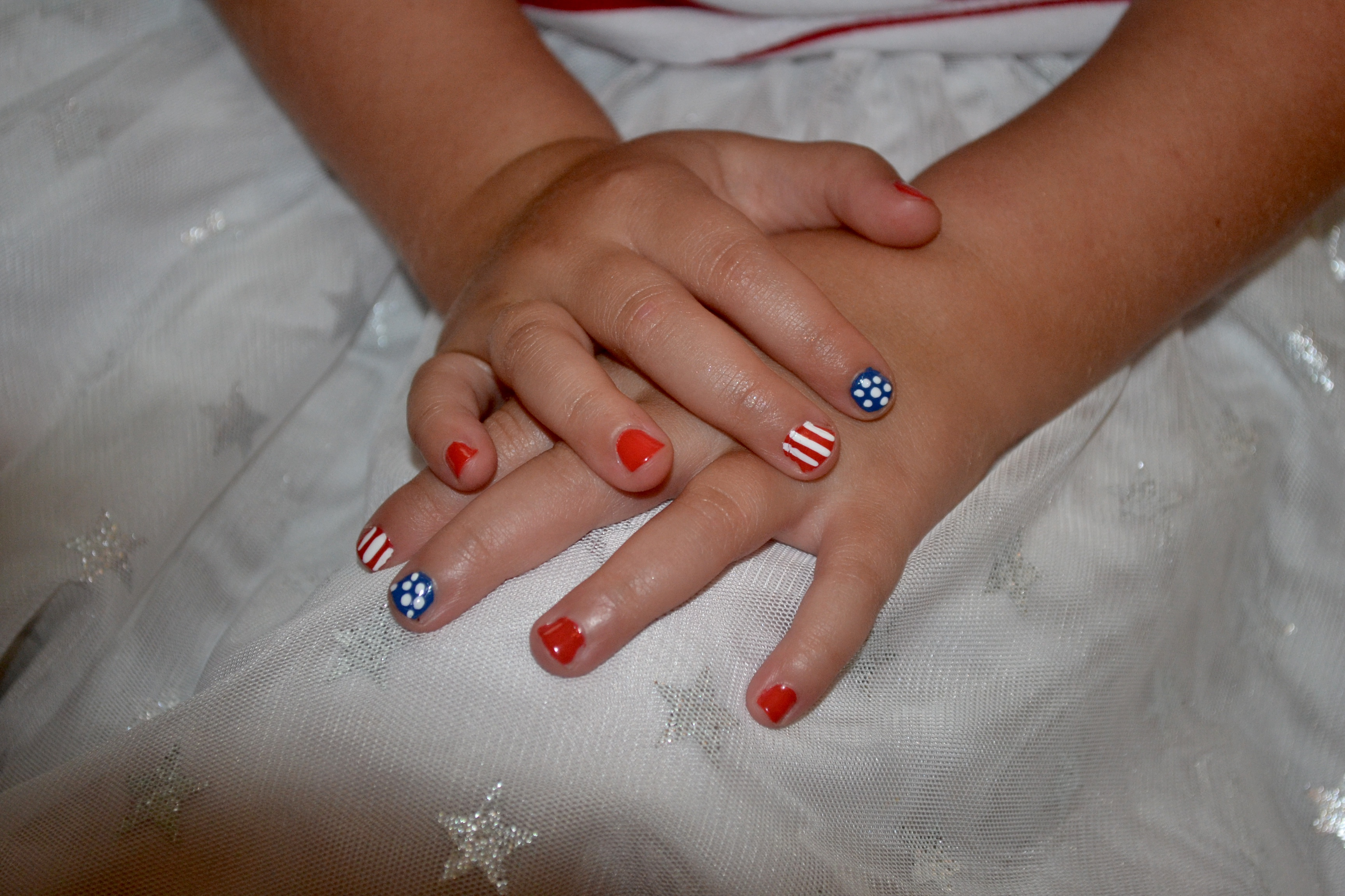 July 4th inspired flag nail art on little girls