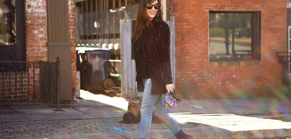 How To Dress Up Denim With A Velvet Blazer