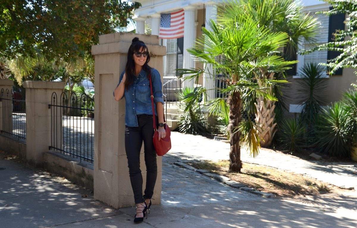 fashion and beauty blog, JennySue Makeup by Jennifer Duvall, leather pants and chambray shirt fashion