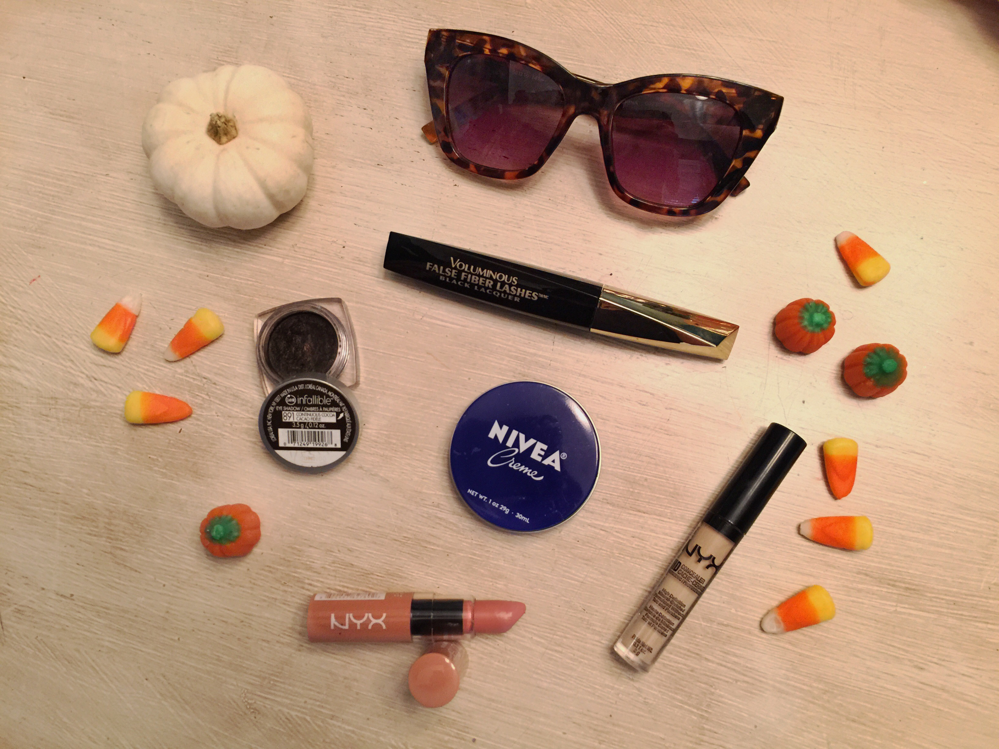 JennySue Makeup blog by Jennifer Duvall, beauty blogger, pinterest beauty products under $10, best budget makeup, Forever 21 sunglasses, Loreal best makeup and mascara, NYX butter lipstick, NYX concealer