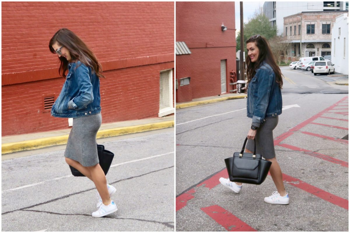 sweater dress and sneakers with Gap denim jacket R