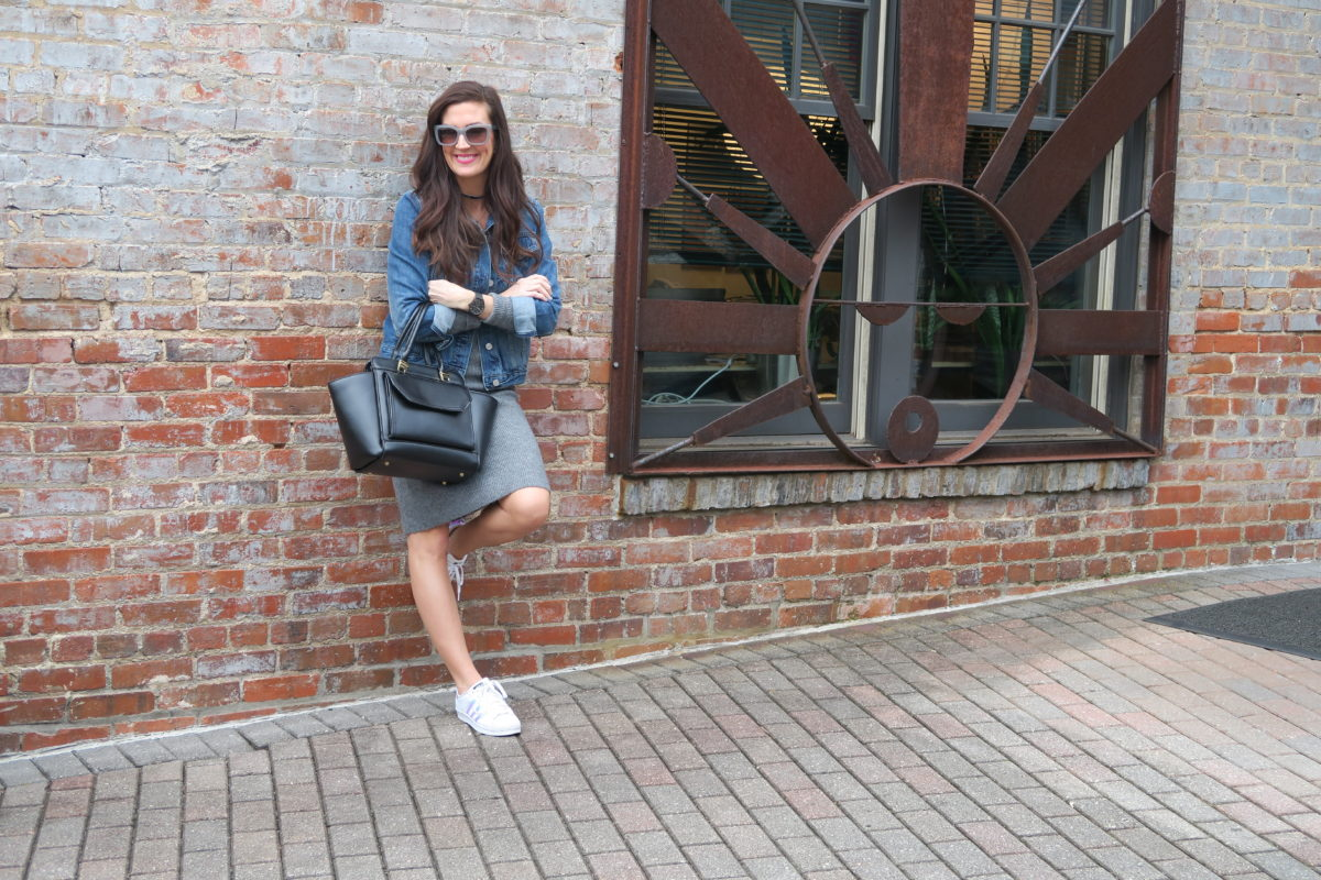 sweater dresses and sneakers how to wear together