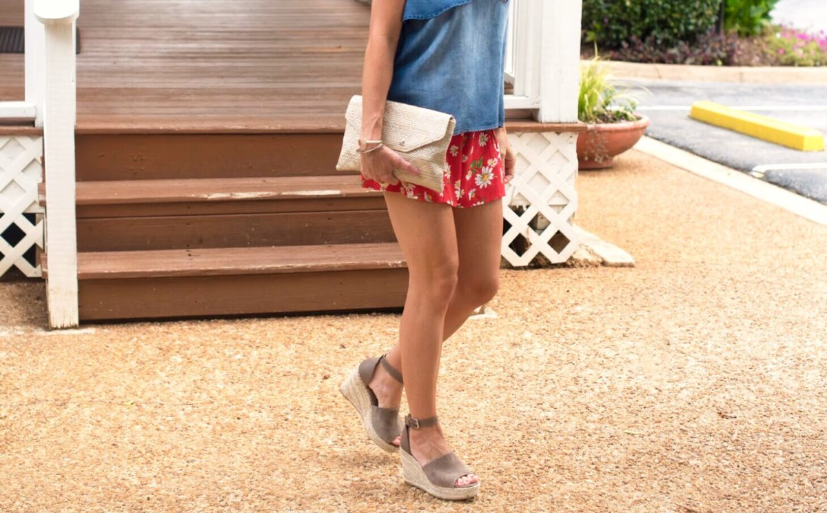 chambray shirt wedge espadrilles for summer