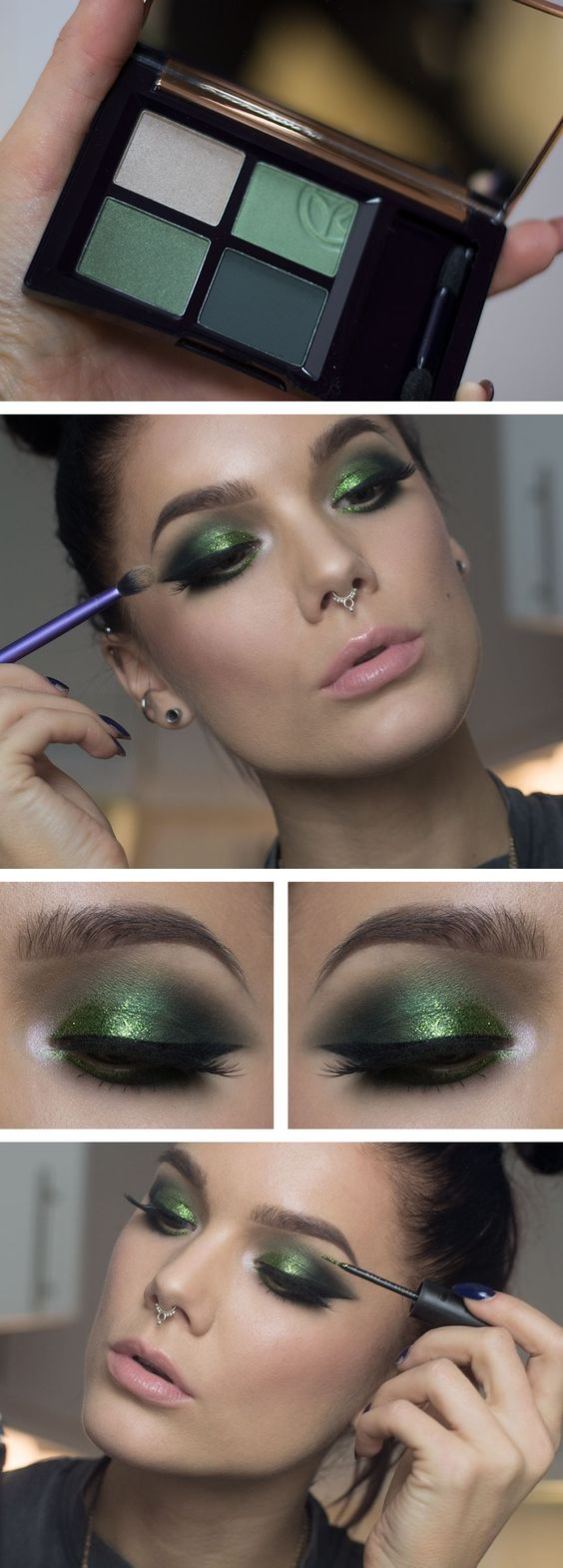 emerald green christmas makeup